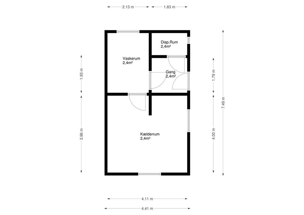 Møllevej 4 Hovedgård - Plantegning kælder