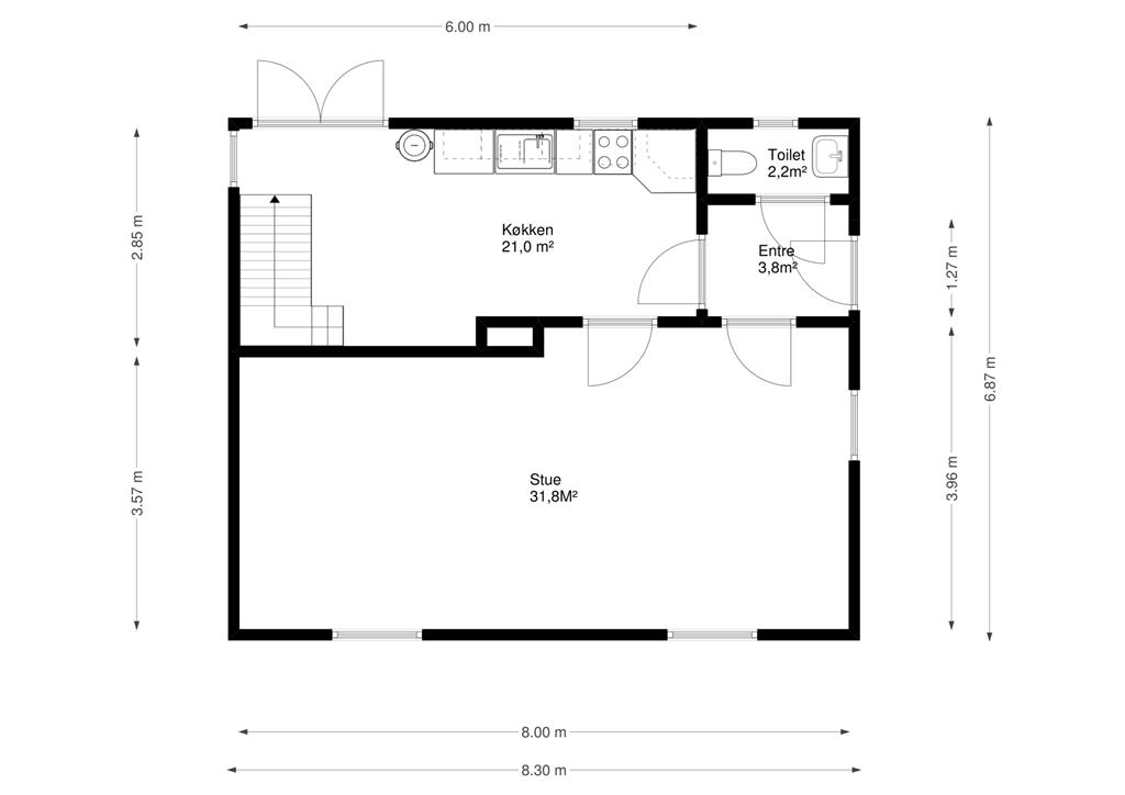 Møllevej 4 Hovedgård - Plantegning stue